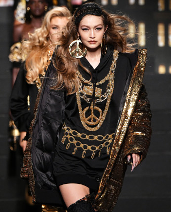 NEW YORK, NY - OCTOBER 24:  Gigi Hadid walks the runway during the Moschino x H&M - Runway at Pier 36 on October 24, 2018 in New York City.  (Photo by Mike Coppola/Getty Images)