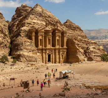Beautiful view on The Monastery (El Deir) and surroundings. One of the most beautiful facades in Petra, Jordan (Beautiful view on The Monastery (El Deir) and surroundings. One of the most beautiful facades in Petra, Jordan, ASCII, 111 components, 111